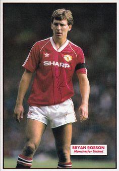 Bryan Robson signed Man Utd football pic.