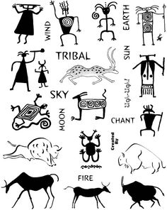 Rock Art and Petroglyphs Unmounted Rubber Stamp Sheet Mais Native Symbols, Indian Symbols, Native American Symbols, Native Art, Arte Tribal, Tribal Art, Esoteric Symbols, Art Indien, Southwest Art