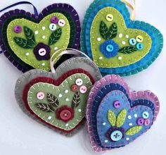 Hanging heart ornament, Blue, lilac felt, button flower applique