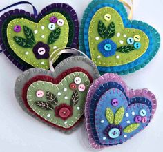 Hanging heart ornament, Blue, lilac felt, button flower applique