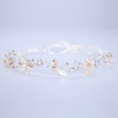 New Ribbon Headband Metal Crystal Freshwater Pearl Hairband Wedding Hair Ornament Bride Headdress Fashion Female Hair Jewelry