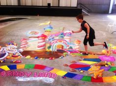 Candyland chalk art at Kansas City Chalk and Walk 2015 - art is 18' x 35' #chalkwalk #candy #candyland #3d #3dchalk #kansascity #amazingstreetpainting