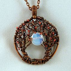 Moonlight Serenade - Trees of Life, Wire Wrapped Pendant Necklace, with Moon Stone
