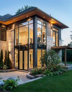 Modern home with a glass facade