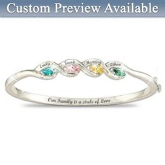 Personalized Bracelet With Up To 6 Names And CZ Birthstones