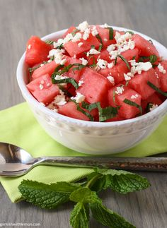 Watermelon Feta Salad Ingredients 7 cups of cubed watermelon, chilled 1 tablespoon rice vinegar 4 ounces crumbled feta cheese 1 cup loosely packed fresh mint leaves, coarsely chopped Kosher or sea salt Freshly ground pepper - See more at: http://www.garnishwithlemon.com/2013/07/02/watermelon-feta-salad/#sthash.hJwo5kl0.dpuf