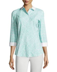 Lafayette 148 New York Violet Striped 3/4-Sleeve Blouse, Aquarium/Multi New offer @@@ Price :$298 Price Sale $179