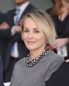 Sharon Stone Now, Sharon Stone Photos, 50 Fashion, Timeless Fashion, Sharon Stone Hairstyles, Fine Hairstyles, Stone Pictures, Actress Photos, Cut And Color