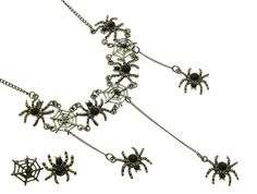 NECKLACE AND EARRING SET / LINK / METAL / CRYSTAL STONE PAVED / ANIMAL / SPIDER / HALLOWEEN / 3 3/4 INCH DROP / 16 INCH LONG