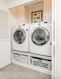 A small laundry room can be a challenge to keep laundry room cabinets functional, yet since this laundry room organization space is constantly in use, we have some inspiring design laundry room ideas. Tiny Laundry Rooms, Laundry Room Remodel, Laundry In Bathroom, Basement Laundry, Small Laundry Area, Basement Bathroom, Small Laundry Closet, Laundry Closet Makeover, Compact Laundry