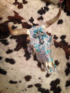 Turquoise cattle skull