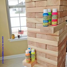 Create this project with Patio Paint Outdoor™ — Stack giant wooden blocks painted in Patio Paint Outdoor™ for some outdoor summer fun. Outdoor Jenga, Yard Jenga, Jenga Diy, Jenga Game, Giant Jenga, Outdoor Games, Outdoor Patios, Outdoor Play, Wood Block Game