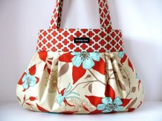 NATURAL DEER VALLEY pleated handbag purse tote with by purseona, $45.00