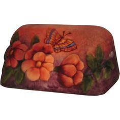 9 Inch L Puffy Butterfly & Flowers Bankers Shade - Custom Made