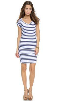 E: SUNDRY Striped V Neck Short Sleeve Dress