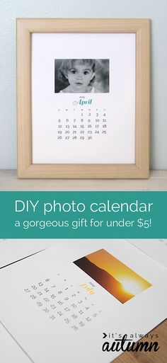 need an inexpensive Mother's Day gift? this DIY framed photos calendar would be perfect - add your own photos to the free printables and it's ready to wrap up. #easy #cheap #gift