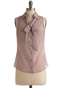 Lavender Sandies Top - Purple, White, Polka Dots, Bows, Buttons, Pockets, Casual, Sleeveless, Spring, Summer, Mid-length