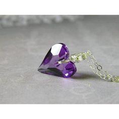 Tanzanite Heart Necklace Blue Purple Heart Pendant Swarovski Crystal... ($38) ❤ liked on Polyvore featuring jewelry, heart jewelry, blue pendant, heart shaped pendant, sterling silver pendants and heart shaped jewelry