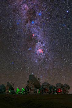 The southern Milky Way above ALMA radio telescopes.