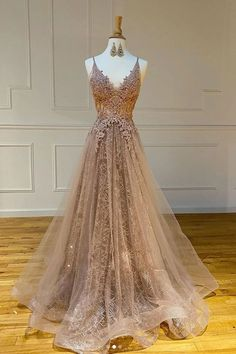 Champagne Tulle Long Dress V Neck A Line Customize Lace Prom Dress from Sweetheart Dress Pretty Prom Dresses, Tulle Prom Dress, Ball Dresses, Beautiful Dresses, Formal Dresses, Tulle Lace, Grad Dresses Long, Vintage Prom Dresses, Prom Dress Long