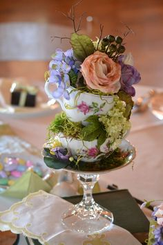 Party table arrangements bridal shower ideas for 2019 Tea Party Decorations, Bridal Shower Decorations, Table Arrangements, Floral Arrangements, Tea Party Centerpieces, Teacup Centerpieces, Shabby Chic Centerpieces, Teapot Centerpiece, Easter Centerpiece