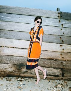 I am thinking of getting this Whistles campaign orange and black dress to wear to my book launch event. Please repin if you think I should! Or do you think it is too much for Broadwater library??