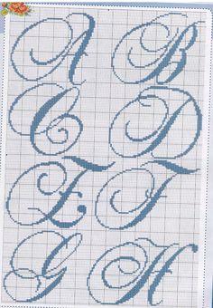 Monograma ponto cruz (A, B, C, D, E, F, G e H)                              …