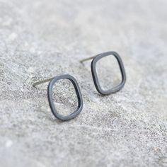 Black square sterling silver stud earrings minimal by keepityours