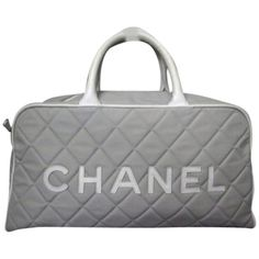 Chanel Pre-owned Chanel Quilted Boston Grey White Leather Gym Duffle... ($777) ❤ liked on Polyvore featuring bags, handbags, none, white handbags, chanel handbags, leather purse, quilted duffel bag and gray leather handbag