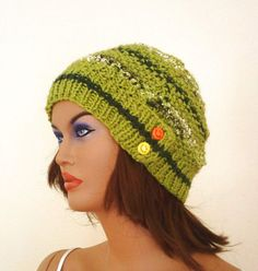 Green striped knitted womens beret hat with two by KnitterPrincess, $21.00