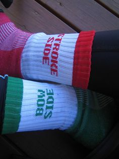 Crew socks. Would never have trouble remembering port and starboard again!
