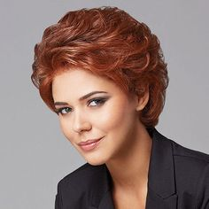 Pinnacle Monofilament Lace Front Wig - A modern take on a short basic cut, this full, softly waved, collar–length silhouette has a hand-knotted top for parting versatility and sheer lace front for natural looking, off–the–face styling. Find this style & more @ thewigcompany.com