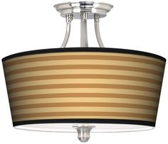 Butterscotch Parallels Tapered Drum Giclee Ceiling Light -