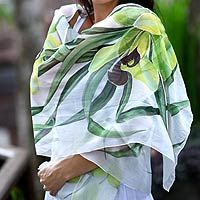Blooming in floral splendor, cool green orchids whisper of Bali in this silk #shawl