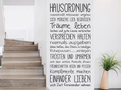 Wall tattoo house rules in the hallway - Best Interior Design Ideas Black And White Interior, White Interior Design, Interior Design Living Room, Hallway Walls, Wall Tattoo, House Rules, Wall Design, Sweet Home, Banner