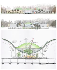 California Academy of Sciences by Renzo Piano / Drawings and Sketches - Architecture Architecture Drawings, Architecture Portfolio, Futuristic Architecture, Sustainable Architecture, Architecture Details, Landscape Architecture, Architecture Diagrams, Environmental Architecture, Zaha Hadid Architects