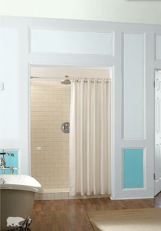 Update your victorian style bathroom with behr paint in snowmelt blue and ultra pure white on - Exterior paint in bathroom set ...