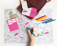 OMY Pocket Map is the perfect travel companion when you need to keep kids entertained! Use pens crayons or pencils to colour in each destination as you go