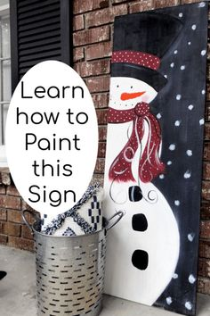 DIY Wood Signs - How to Make a Snowman Painting on Wood . DIY Wood Signs are one of my favorite ways to decorate and Snowman Painting on wood is a fav! Christmas Wood Crafts, Outdoor Christmas, Christmas Decorations To Make, Christmas Projects, Holiday Crafts, Christmas Ornaments, Christmas Canvas, Christmas Ideas, Christmas 2019