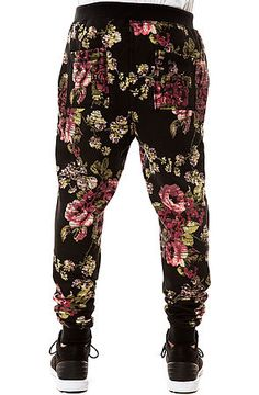 The Digi Floral Tapered Jogger Pants in Black and Pink by Elwood