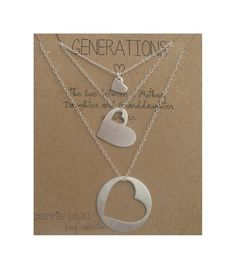 Generations necklace set - grandmother mother daughter - mother's gift - grandmother's gift - family necklace by carriesaxl on Etsy https://www.etsy.com/listing/204024800/generations-necklace-set-grandmother