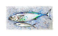 Art Print of Original Watercolor PaintingFish at by workingwoman