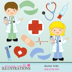 Doctor Kids Cute clipart set comes with 13 cute graphics including: a boy doctor a girl doctor a mask & scrub hat in green & blue a red cross a heartbeat a bandaid an otoscope a stethoscope a hypo needle and a heart with a white cross. Medical Clip Art, Medical Icon, Kids Doctor Kit, Girl Doctor, Cute Clipart, Children Images, Red Cross, Felt Animals, Felt Crafts