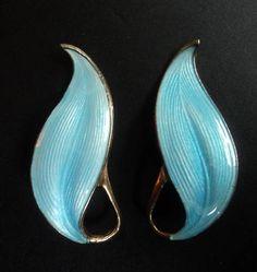 Norwegian Silver Enamel Earrings - Finn Jensen  Norway