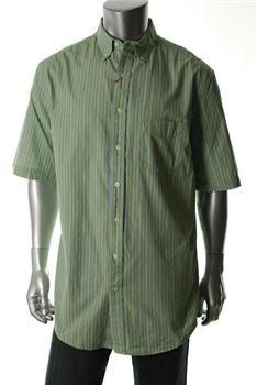 $17.50 Club Room Mens Big & Tall Green Button Down Shirt Striped Sale 2XLT Retail 50.00