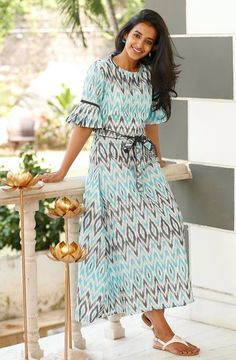 Shop online Arctic blue and ash grey ikat dress The arctic blue and ash grey ikat dress is perfect for any weather or occasion! it is styled with a tie-up at the waistline. Indian Online, Indian Fashion Designers, Lehenga Blouse, Ash Grey, Anarkali Suits, Short Sleeve Dresses, Long Dresses, Designer Wear, Ikat