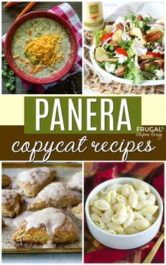 The best Copycat Panera Recipes. These homemade restaurant meals include easy soups, salads, sandwiches, desserts, dressings and more! Yummy Recipes, Copykat Recipes, New Recipes, Soup Recipes, Dinner Recipes, Cooking Recipes, Favorite Recipes, Healthy Recipes, Fondue Recipes