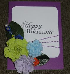 Pinquette Janet created this beautiful Birthday card using Pinque Peacock Felt Poppers and Beaded Stick Pin