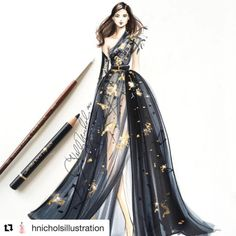 #Repost @hnicholsillustration with @repostapp A black and gold @eliesaabworld @copicmarker and @goldenpaints #eliesaabcouture #eliesaab #eliesaabworld #couture #coutureweek #hautecoutureweek #pariscoutureweek #fashionsketch #fashionillustration...