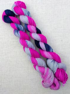 Hand dyed sock yarn - lace weight yarn - fuchsia navy and grey - superwash wool and nylon yarn Best Ballpoint Pen, Sock Yarn, Hand Dyed Yarn, Needles Sizes, Lace Knitting, Wool, Unique Jewelry, Handmade Gifts, Crafts